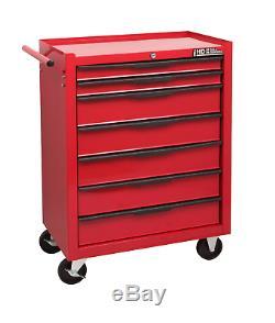 Hilka Coffre À Outils Chariot 7 Tiroir Red Metal Mobile Rouleau Roues Armoire De Rangement
