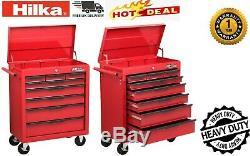 Hilka Coffre À Outils Chariot 8 Tiroir Rouge Entreposage Mobile Rouleau Roues Box Cabinet