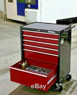 Hilka Coffre À Outils Chariot Rouge Noir 6 Tiroirs Boîte De Rangement Rouleau Cabinet Panier Boîte