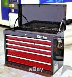 Hilka Coffre À Outils Rouge Noir 9 Tiroirs Outils Garage Métal Boîte De Rangement Meuble De Rangement