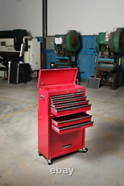 Hilka Tool Storage Trolley Chest 8 Tiroir Roues Roues Roues Roues Mobiles Rouges Boîte De Rangement