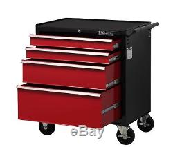 Hilka Tool Trolley Chest Rouge Noir Boîte De Rangement À 4 Tiroirs