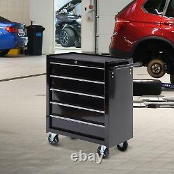 Homcom Acier 5 Tiroirs Outil Armoire De Rangement Verrouillable Roues Poignée 2 Clés Garage