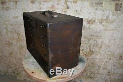 Ingénieurs Antique Banque De Tiroirs Draughtmens Atelier Cabinet Boîte À Outils Coffre