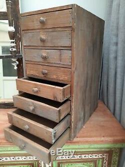 Ingénieurs Vintage Tiroirs Armoire À Outils 8 Tiroirs Rustique Antique Pine Mercier