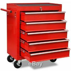 Mécanique Verrouillables Outil Chariot Armoire De Rangement 5 Tiroirs Atelier Red Box