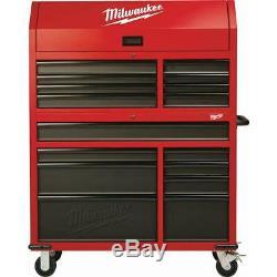 Milwaukee Coffre À Outils Roulant Cabinet Set 46. 16 Tiroirs Verrous De Roues En Acier Rouge