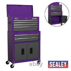 Nouveau Sealey 6 Tiroirs À Billes Roulements À Rouleaux Coffre À Outils Cabinet Violet Matt Gris 2pc