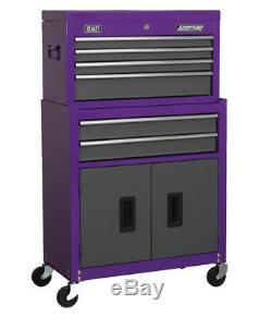 Nouveau Sealey 6 Tiroirs À Rouleaux À Rouleaux Outil Coffre Pourpre Violet Mat Gris 2pc