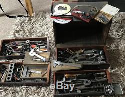 Poitrine Ingénieurs En Bois Vintage Toolmakers Cabinet 4 Tiroirs Avec Des Outils