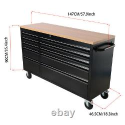 Professional 55 10 Tiroirs Tool Box Chest Roller Cabinet Black Bench Tools Top