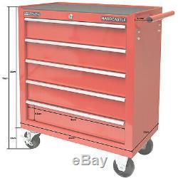 Red Metal 5 Outil Verrouillable Tiroirs Boîte De Rangement Rouleau Cabinet / Laminage Cab