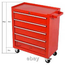 Roller Tool Armoire Rangement Coffre 5 Tiroirs Roues Garage Atelier Rouge