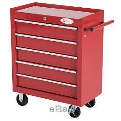 Rouleau Outil Cabinet 5drawers Rouge Chariot Panier Étagère De Rangement Rouleau Bricolage Équipement