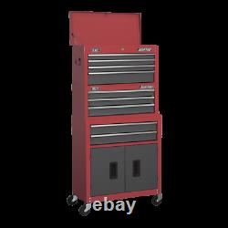 Sealey Ap2200bbstack Boîte À Outils Topchest, Mid-box & Rollcab 9 Drawer Stack Red