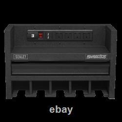 Sealey Ap22srbe Power Tool Storage Rack 560mm Avec Tiroir Et Bande De Puissance
