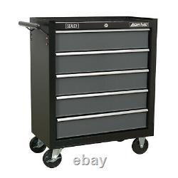Sealey Ap2505b Black Light Duty Roller Cabinet 5 Tiroir Outil Roulement À Billes De Poitrine