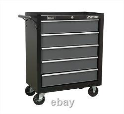 Sealey Ap2505b Roulement À Billes Noir De Poids Lourds Roller Cabinet 5 Tiroir Outil Poitrine