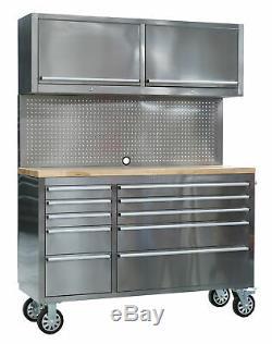 Sealey Ap5520ss Outil Mobile En Acier Inoxydable Cabinet 10 Tiroirs Avec Backboard & 2