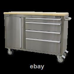 Sealey Mobile Armoire À Outils En Acier Inoxydable 4 Tiroir Ap4804ss