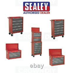 Sealey Tools Storage Drawer Garage Workshop Wheels Armoires Metal Chest Box Rouge