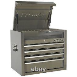 Sealey Top Chest 4 Tiroir 675mm Boîte De Stockage D'outils Lourds En Acier Inoxydable