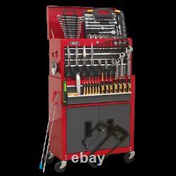 Sealey Topchest Rollcab Cabinet 6 Tiroirs De Rangement D'outils 128pc Ensemble De Trousses D'outils