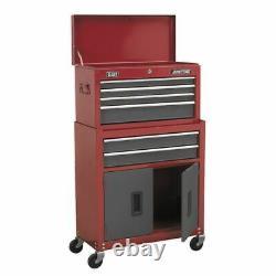 Sealey Topchest & Rollcab Combination 6 Tiroir Avec Coureurs B/b Rouge/gris