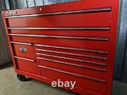 Snap On 55in Kuk1422 Rollcab Tool Box Red Lock'n Roll Power Drawer Nouveau