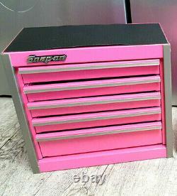 Snap-on Nouveau Pink Mini Bottom Tool Box 5 Tiroirs De Base Cabinet Chrome Trim Micro