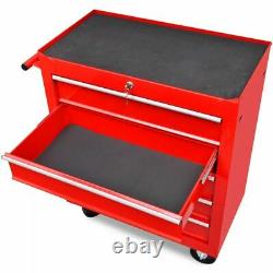 Vidaxl 5 Tiroirs Mechanics Tool Trolley Red Workshop Coffret Armoire De Rangement
