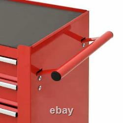 Vidaxl Tool Trolley Avec 4 Tiroirs En Acier Rouge Workshop Tool Cart Coffret D'armoire
