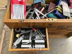 Vintage 6 Ingénieurs Tiroirs En Bois Toolmakers Outil Coffre-fort Cabinet Avec Des Outils