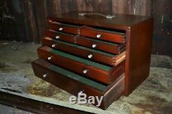 Vintage 7 Ingénieurs Tiroirs Toolmakers Cabinet Outil En Bois Par L'union