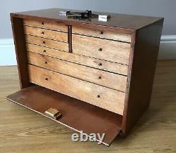 Vintage 8 Tiroir Boîte À Outils Ingénieurs Horloger Coffre En Bois Verrouillable / Cabinet