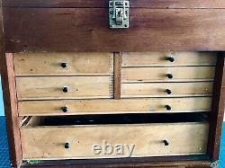 Vintage Emir 7 Tiroirs Engineers Toolmakers Coffret D'armoire + Outils D'éclipse M&w
