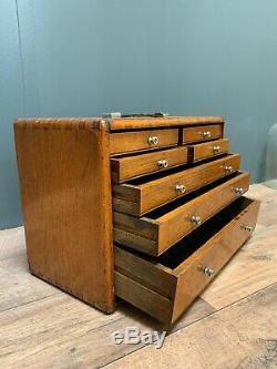 Vintage Moor & Wright 8 Tiroirs Fabricants Ingénieurs Armoire À Outils Coffre Chêne Clair Vgc