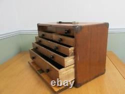 Vintage Moore & Wright 7 Ingénieurs Tiroirs En Bois Coffre À Outils Armoire À Outils