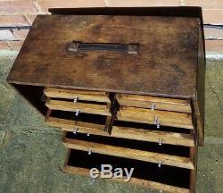 Vintage Neslein Ingénieurs Outilleurs Outils En Bois Coffre Cabinet Boîte 9 Tiroirs