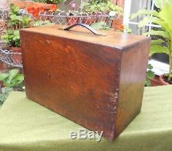 Vintage Oak Engineer's Tool 5 Tiroirs + Tiroir Coulissant