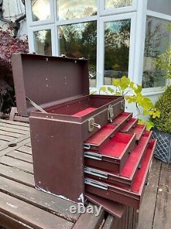 Vintage Starrett 7 Tiroir Engineers Toolmakers Outil En Métal Coffre-fort Cabinet
