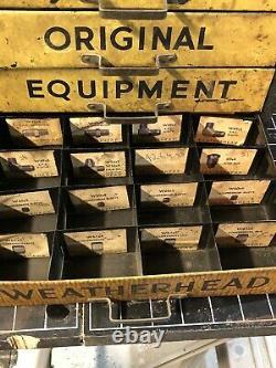 Vtg Weatherhead 4 Tiroir En Métal Armoire Publicité Mancave Garage Industriel